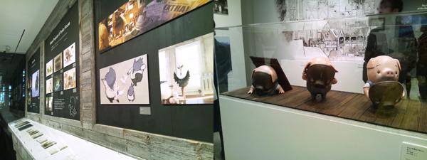 展覧会の様子。作品を紹介する図版とともに、映画に登場するキャラクターの立体物も披露され、多角的な展示は大盛況を収めた。
