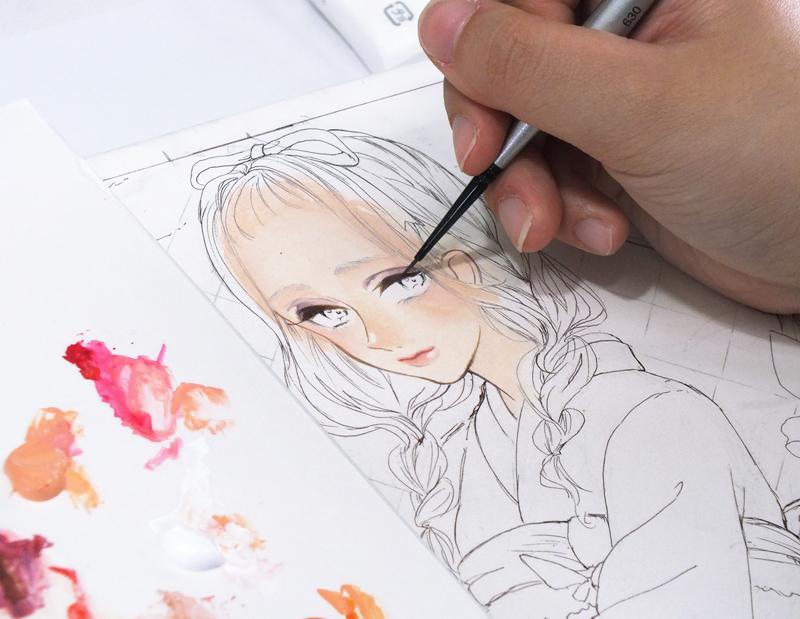 画材使い試し・普段水彩絵具を使うレモンさんに、アクリル絵具を使ったイラストを描いていただきました。